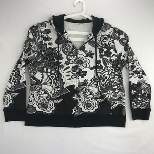 Cato Black White Floral Zip Front Hoodie Jacket XL